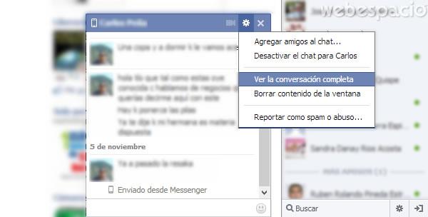 borrar conversacion chat facebook