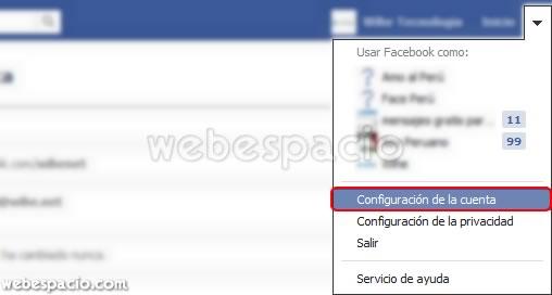 configurar cuenta facebook