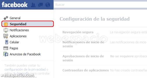 configurar seguridad facebook