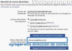 facebook configuracion correo