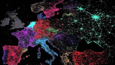 Mapa mundial de comunidades lingüísticas de Twitter