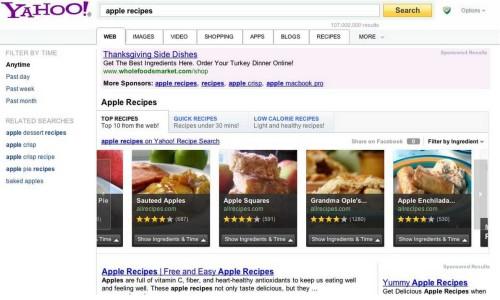 Yahoo lanza búsqueda interactiva para recetas, productos y entretenimiento