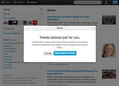 Twitter tendencias personalizadas