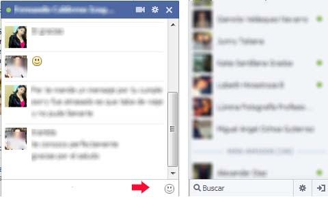 agregar emoticones en el chat de facebook