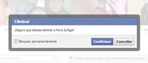 confirmar eliminar miembro de grupo de facebook