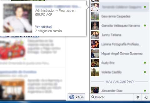elegir contacto en el chat de facebook