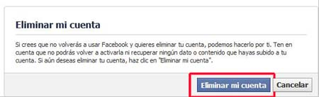 Cómo eliminar definitivamente una cuenta de Facebook
