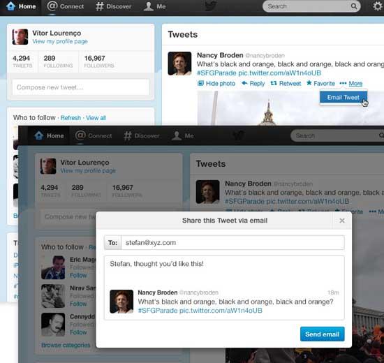 Twitter ya permite compartir tweets por correo electrónico