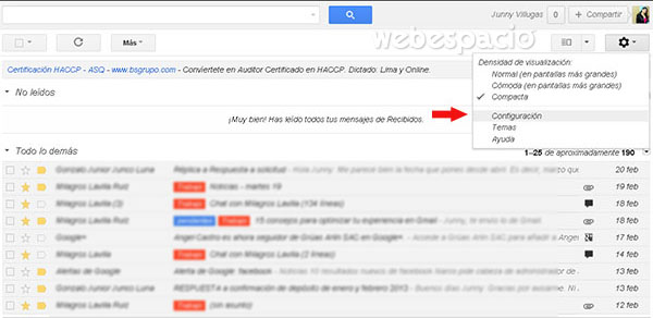 configuración de correo gmail