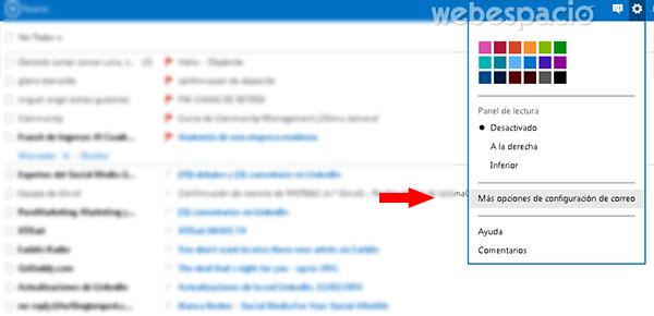 opciones de configuración de correo outlook