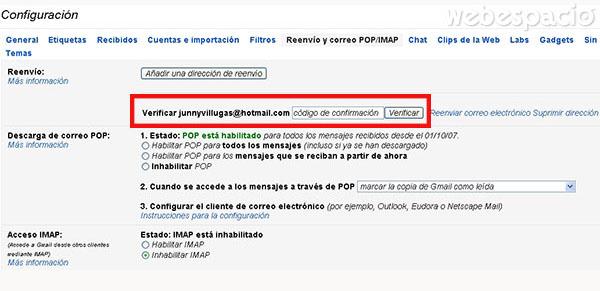 verificar código de eenvio en gmail
